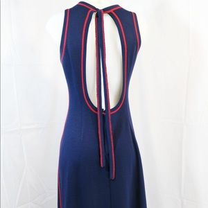 Vintage Nautical Navy dress with red details!